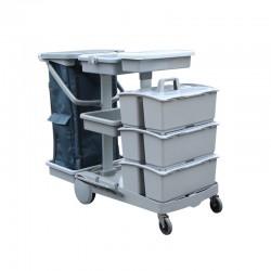 意大利施达 JT 153 酒店医院商场保洁 平拖型清洁服务车 手推车(配三个手挽桶)