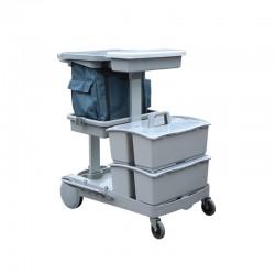 施達 平拖型清潔服務車 配兩個手挽桶