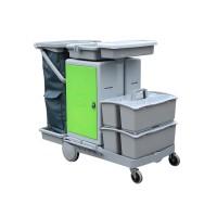 意大利施达 JT C152 带储物箱及2个手挽桶 平拖型清洁服务车 手推车 酒店保洁收集车