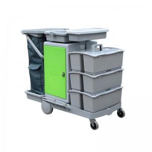 意大利施达 JT C153 带储物箱及3个手挽桶 平拖型清洁服务车 手推车 酒店保洁收集车