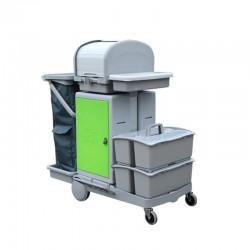 意大利施达 JT RC152 酒店医院商场保洁 平拖型清洁服务车 手推车 带储物箱、卷帘顶盖和2个手挽桶