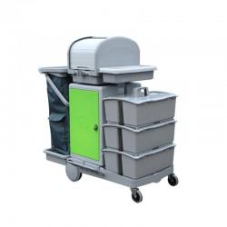 意大利施达 JT RC153 酒店医院商场保洁 平拖型清洁服务车 手推车 带储物箱、卷帘顶盖和3个手挽桶